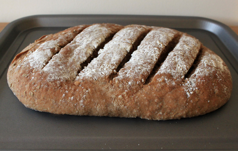 Acorn bread out of the oven